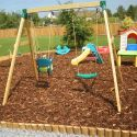 Bark play area with half round edging